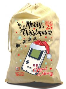 Retro Gamer Gaming Geek design X-Large Cotton Drawcord Christmas Santa Sack Stocking Gift Bag